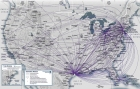 Continental's network clearly shows the airline's hubs in Newark, Cleveland, and Houston