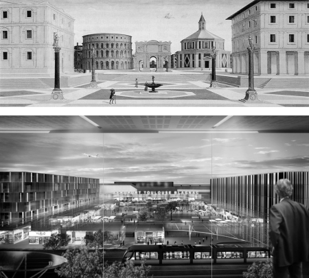 Renderings of Città Ideale and Airport Toulouse: A composition setup with an elevated vantage point, formal symmetries, axial alignment, balance and visual depth as well as the striving for the creation of a civic well defined square that suggests a notion of civic life at ease can be found in both depictions.
