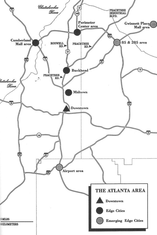 Atlanta's Hartsfield International Airport was listed as an emerging edge city in Garreau's book from 1991.