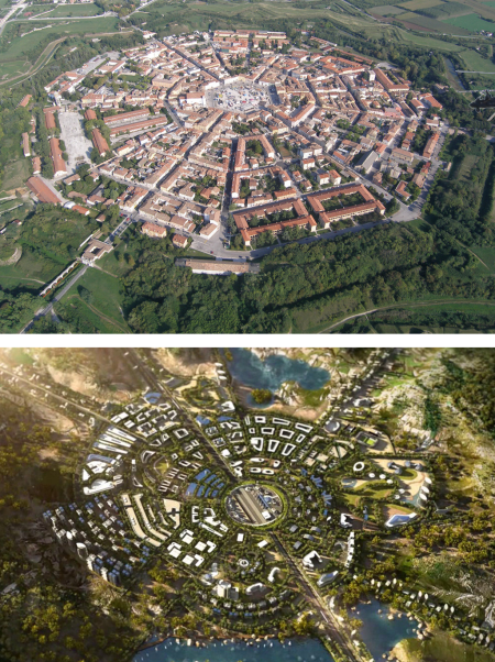 Palmanova is one of the few ideal city layouts that was actually realized. From the air its formal, symmetrical layout is strikingly similar in its overall gestalt to a rendering of a generic version of one of Kasarda's Aerotropoli: Although on a vastly bigger scale, the overall circular form, the street system, the center piece (here airport instead of city square) and the differentiation into different living and working quarters bear a striking formal and functional resemblance to Palmanova.